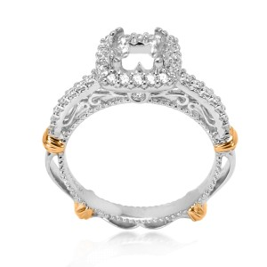 Verragio Diamond Halo Engagement Ring Setting in 14K White Gold