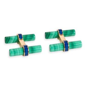Cartier Malachite & Lapis Lazuli Cufflinks in 18K Yellow Gold