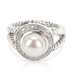 David Yurman Albion Pearl & Diamond Ring in Sterling Silver 0.20 CTW