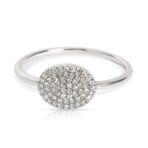 Pave Oval Shape Diamond Ring in 14K White Gold 0.22 CTW