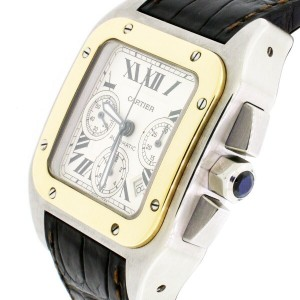 Cartier Santos 100 XL Chronograph 2-tone Automatic Mens Watch W20091X7 Box Paper