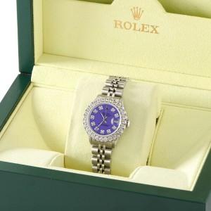 Rolex Datejust Steel 26mm Jubilee Watch 2CT Diamond Bezel / Pastel Purple Dial