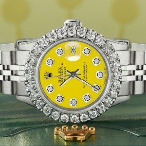 Rolex Datejust Steel 26mm Jubilee Watch 2CT Diamond Bezel / Yellow Diamond Dial