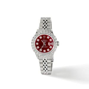 Rolex Datejust Steel 26mm Jubilee Watch 2CT Diamond Bezel / Candy Red Dial