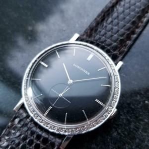 Midsize Longines 18k White Gold ref.167-B Diamond Dress Watch, c.1960s LV65BRN