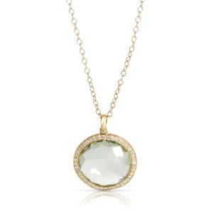 Ippolita Lolipop Prasiolite Diamond Necklace in 18K Gold/Platinum 0.33 ctw