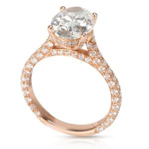 IGI Certified Halo Diamond Engagement Ring in 18K Rose Gold G SI1 2.76 CTW