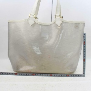 Louis Vuitton Lagoon Bay Plage Clear Gm with Pouch 870680 White Vinyl Tote