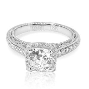 Verragio Diamond Cushion Engagement Ring Setting in 18K White Gold