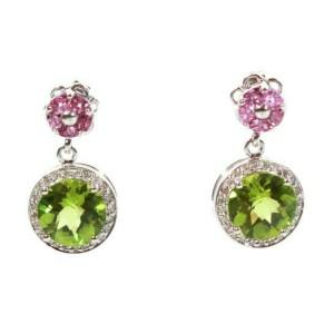 Sonia Bitton - Diamond Earrings Pink Tourmaline & Green Peridot - 14K White Gold