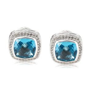 David Yurman Blue Topaz Albion Earrings in Sterling Silver