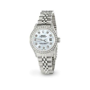 Rolex Datejust 26mm Steel Jubilee Diamond Watch with Natural Pearl White Dial