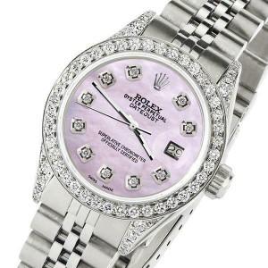 Rolex Datejust 26mm Steel Jubilee Diamond Watch with Pink Pearl Dial