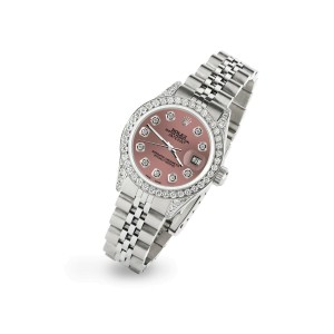 Rolex Datejust 26mm Steel Jubilee Diamond Watch with Salmon Dial