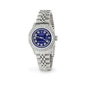 Rolex Datejust 26mm Steel Jubilee Diamond Watch with Navy Blue Dial