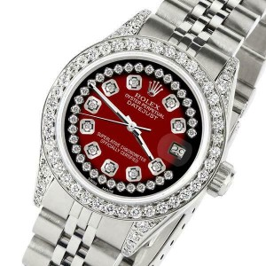 Rolex Datejust 26mm Steel Jubilee Diamond Watch with Red Vignette Dial