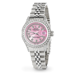 Rolex Datejust 26mm Steel Jubilee Diamond Watch with Pink Flower Dial