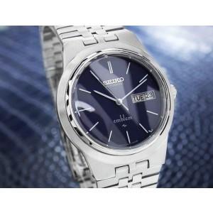 Seiko Emblem Mens 35mm Vintage Day Date Automatic Watch 2409 0030 1970s Jr44