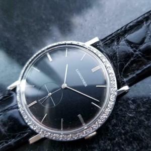 Longines 18k White Gold 1960s Midsize 32mm Diamond Dress Watch Swiss Watch LV65