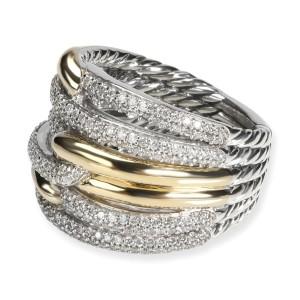 David Yurman Labyrinth Diamond Ring in 18K Yellow Gold/Sterling Silver 1 CTW