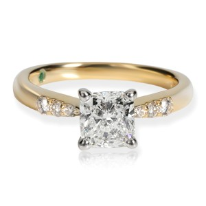 GIA Certified Cushion Diamond Engagement Ring in 14KT Yellow Gold F SI2 1.11 CTW