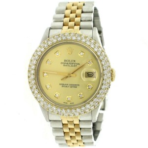 Rolex Datejust 36mm 2-Tone Watch w/4.6CT Diamond Dome Bezel/Champagne Dial