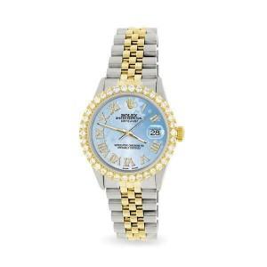 Rolex Datejust 36mm 2-Tone WATCH /3.10ct Diamond Bezel/Blue Flower Diamond Dial