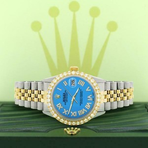 Rolex Datejust 36mm 2-Tone WATCH /3.10ct Diamond Bezel/Blue Diamond Dial