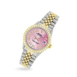 Rolex Datejust 36mm 2-Tone WATCH/3.10ct Diamond Bezel/Pink Flower Roman Dial