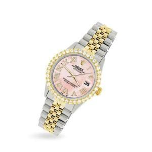 Rolex Datejust 36mm 2-Tone WATCH/3.10ct Diamond Bezel/Royal Pink Roman Dial