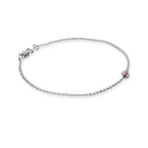 Handmade Bezel Fancy Intense Pink Diamond Bracelet in 14Kt White Gold 0.22CTW
