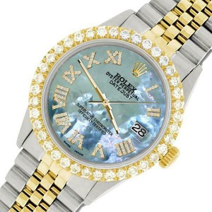 Rolex Datejust 36mm 2-Tone WATCH/3.10ct Diamond Bezel/Tahitian Blue Roman Dial