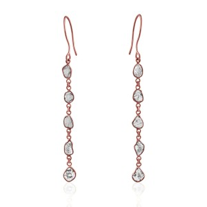 Rock & Divine Dawn Diamond Slice Drop Earrings in 18K Rose Gold F VS2 1.50 ctw