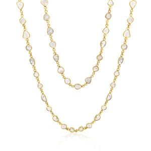 "Rock & Divine Dawn Collection Sun Stream  36"" Diamond Slices Necklace 18K Gold"