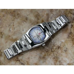 Mens Rado Silver Sabre 34mm Day Date Automatic, c.1960s Vintage Swiss EX5