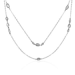 Rock & Divine Morning Light Rose Cut Diamond Necklace in 18K White Gold 2.25 ctw