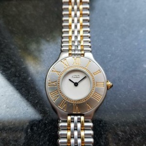 Ladies Cartier Must de Cartier 21 26mm 18K Gold & SS Quartz, c.1990s Swiss LV454