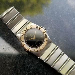 Ladies Omega Constellation 24mm 18k Gold & SS Quartz, c.1980s Swiss LV508