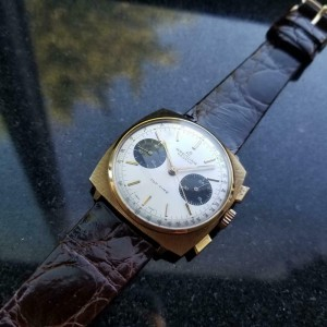 Mens Breitling Top Time 36mm Gold-Plated Hand-Wind Chronograph, c.1970s LV444BRN