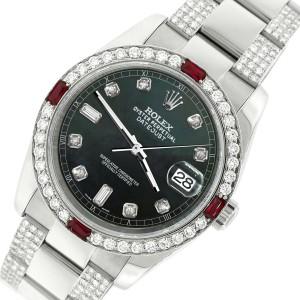 Rolex Datejust 116200 Steel 36mm Watch with 4.5Ct Diamond Bezel Black MOP Dial