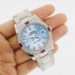 Rolex Datejust 116200 Steel 36mm Watch w/4.5Ct Diamond Bezel Blue Flower Dial