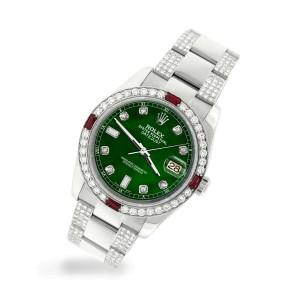 Rolex Datejust 116200 Steel 36mm Watch w/4.5Ct Diamond Bezel Forest Green Dial