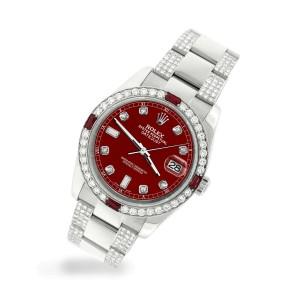 Rolex Datejust 116200 Steel 36mm Watch w/4.5Ct Diamond Bezel Imperial Red Dial