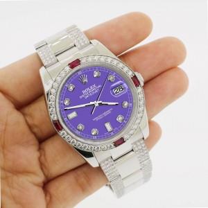 Rolex Datejust 116200 Steel 36mm Watch w/4.5Ct Diamond Bezel Lavender Dial