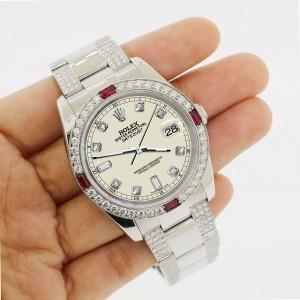 Rolex Datejust 116200 Steel 36mm Watch with 4.5Ct Diamond Bezel Linen White Dial