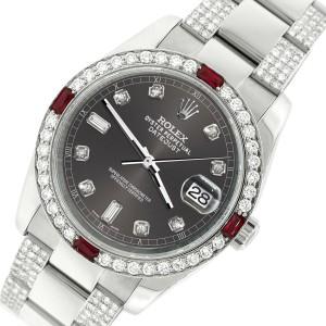 Rolex Datejust 116200 Steel 36mm Watch w/4.5Ct Diamond Bezel Rhodium Grey Dial