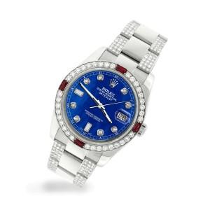 Rolex Datejust 116200 Steel 36mm Watch w/4.5Ct Diamond Bezel Royal Blue MOP Dial