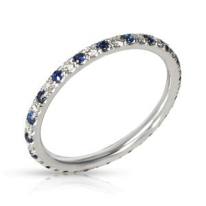 Sapphire & Diamond Eternity Band in 14K White Gold Blue 0.20 CTW