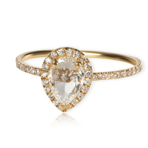 Reimagined Pear Shape Rose Cut Diamond Engagement Ring in 18K Gold F VS 0.68ctw