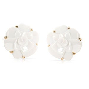 Chanel Camelia White Agate Flower Earrings in 18K Yellow Gold
